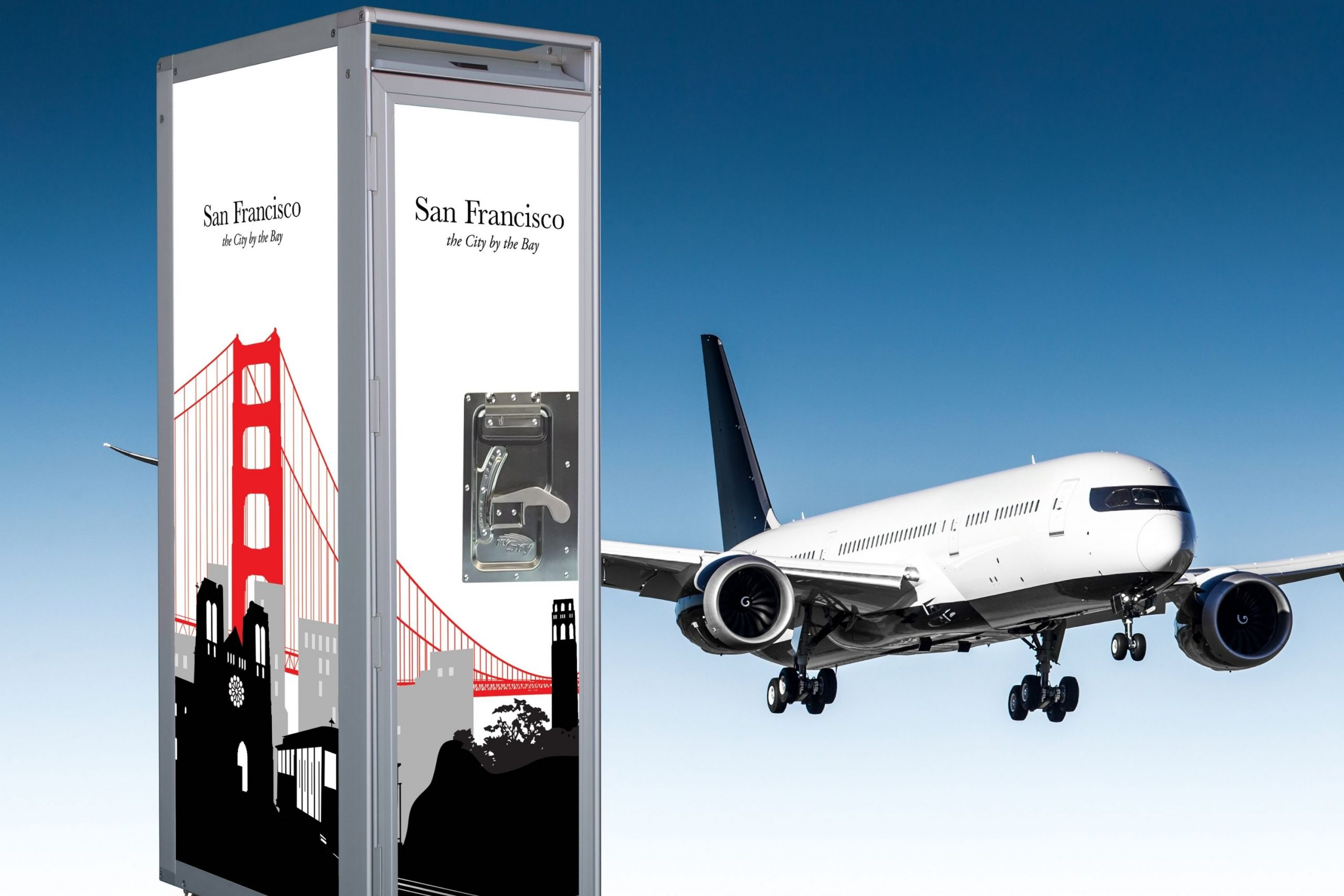 SkyCart™ airline galley cart in front of Boeing 787